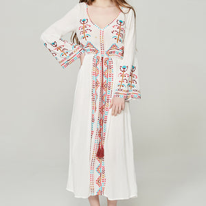 #1503 Floral Embroidered Midi Dress with Long Sleeves