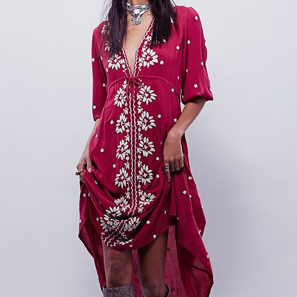 #1505 Floral Embroidered Midi Dress with Band