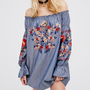 #1506 Off Shoulder Floral Embroidered Mini Dress