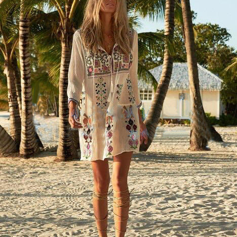 #1507  V Neck Floral Embroidered Mini Dress with 3/4 Sleeves