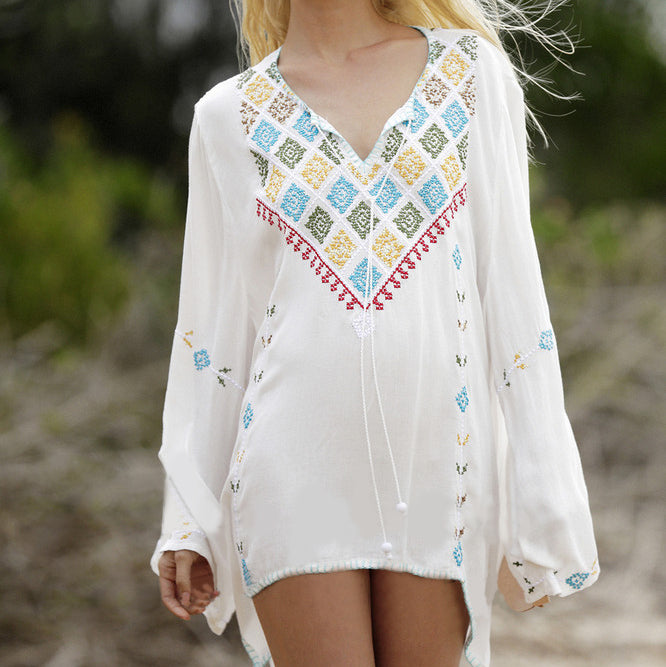 1509  V Neck Floral Embroidered Mini Dress with Long Sleeves