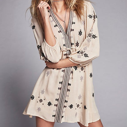 #1510 Floral Embroidered Mini Dress with Band
