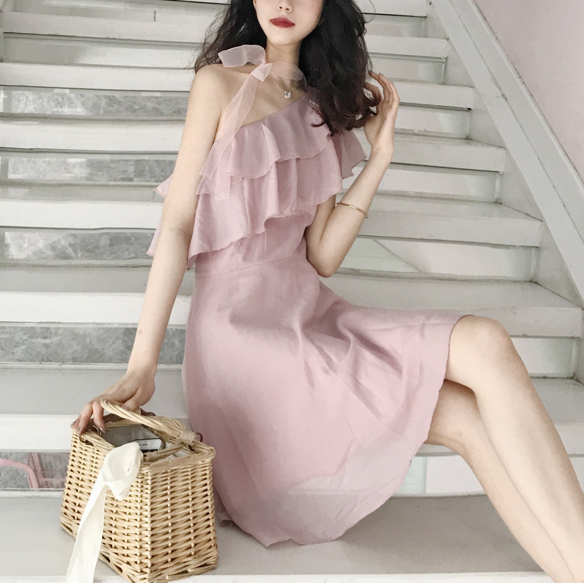 1513 One Shoulder Two Layers Lotus Mini Dress with Ribbon