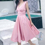 #1520 V Neck Midi Dress with Bow Knot