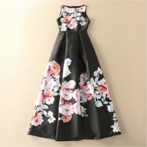 #1529 Round Neck Pleated Midi Dress with Flower Print