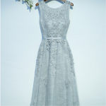 #1532 Round Neck Pleat Lace Embroidered Midi Dress with Band