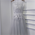 #1535 Round Neck Embroidered Lace Mini Dress with 3D Shirring Detail