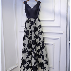 #1543 Embroidered Flowers Maxi Dress with 3D Shirring Detail