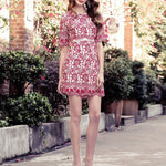 #1397 Bodycon  in Floral Embroidered Needle and Thread Dress with Broderie Hem