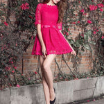 #1401 Pleat Skate Solid Colour in Floral Embroidered Needle and Thread Mini Dress with Broderie Hem