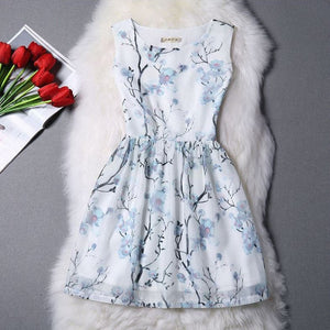 #1026 Round Neck Floral Print Mini Dress