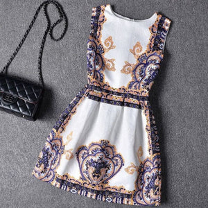 #365 Round Neck Sleeveless Mini Dress in Floral Print