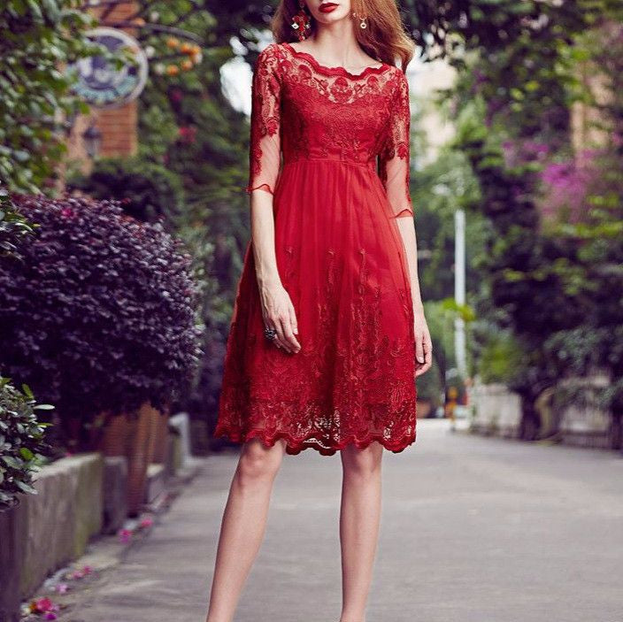 #1395 Solid Colour in Floral Embroidered Needle and Thread Tulle Mini Dress with Broderie Hem