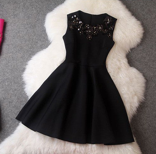 #509 Embellished Beads Skater Mini Dress