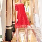 #1405 Bardot A-line Solid Colour Mini Dress in Lace and Organza
