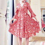#1396 V Neck Skate in Floral Print Crepe Dress with Bow