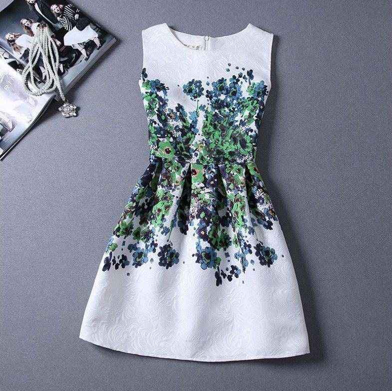 #968 Floral Printed Embriodered Mini Dress