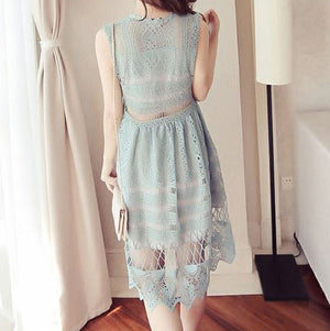 MY0073 A-line Solid Color Mini Dress with Crochet Lace