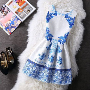 #1120 Round Neck Floral Print Mini Dress