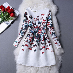 #1091 Butterfly Print Mini Dress with Long Sleeves