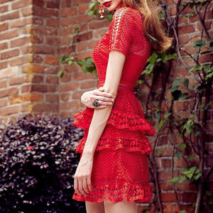 #1393 Cap Sleeves Layers with Broderie Hem Mini Dress in Embroidered Lace
