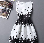 #1118 Round Neck Polka Dot Print Mini Dress