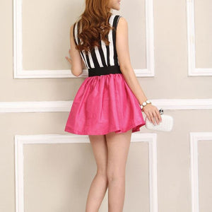 #242  Round Neck in Stripe Pattern Mini Dress Band and bow