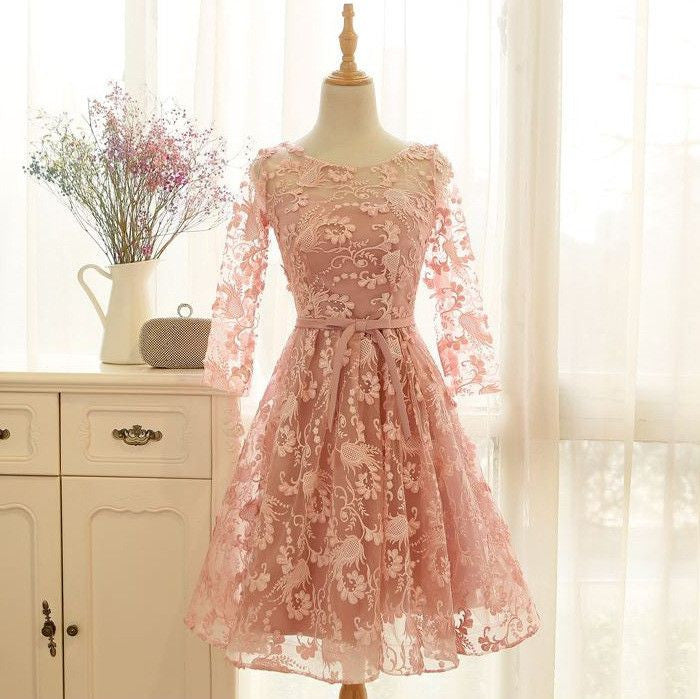 #1320 Floral Embroidered Keyhole Skater Mini Dress Band with Bow