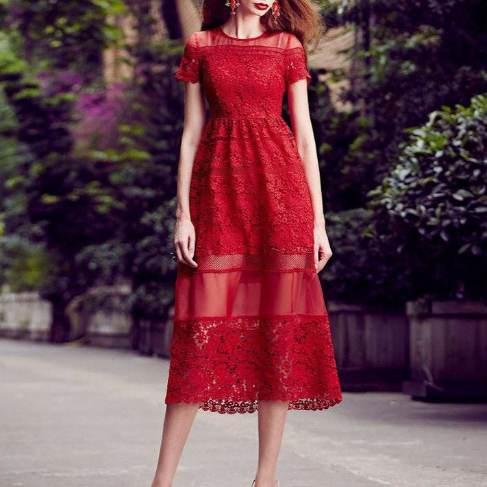 #1394 Cap Sleeves Partially Sheer in Floral Embroidered Lace Midi Dress with Broderie Hem
