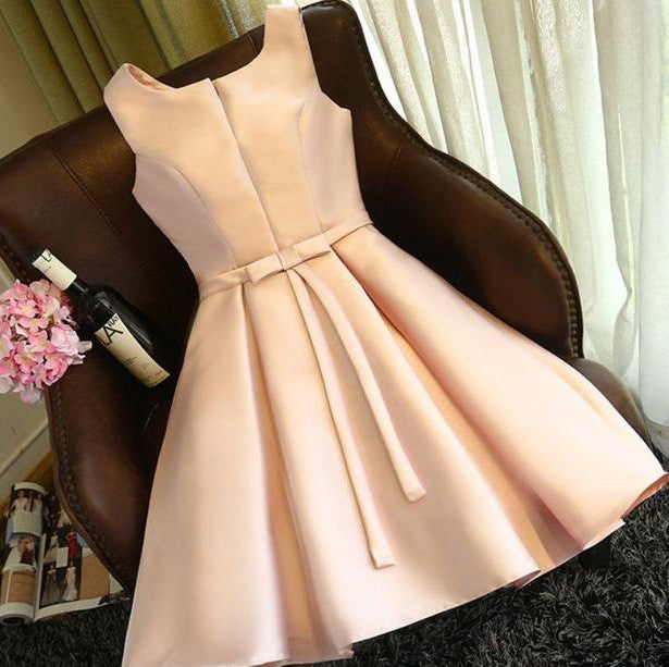 #1440 Slit-Round Neck Box Pleat Mini Dress with Band and Bow