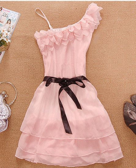 #233 Flower Sloping Shoulder Dress