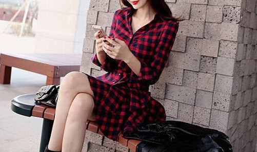#733 V Neck Lapel Collar Mini Dress with Irregular Hem