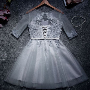 #1315 Embroidered Lace Double Layers Mini Dress in Partially Sheer