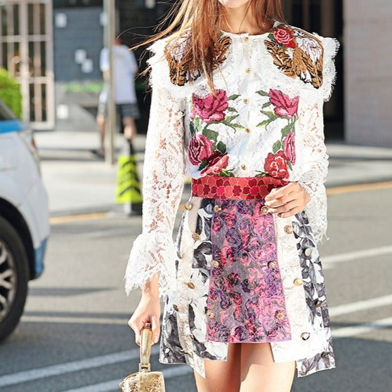 #4002 Embroidered Lace Bell Sleeves Top with Irregular Skirt