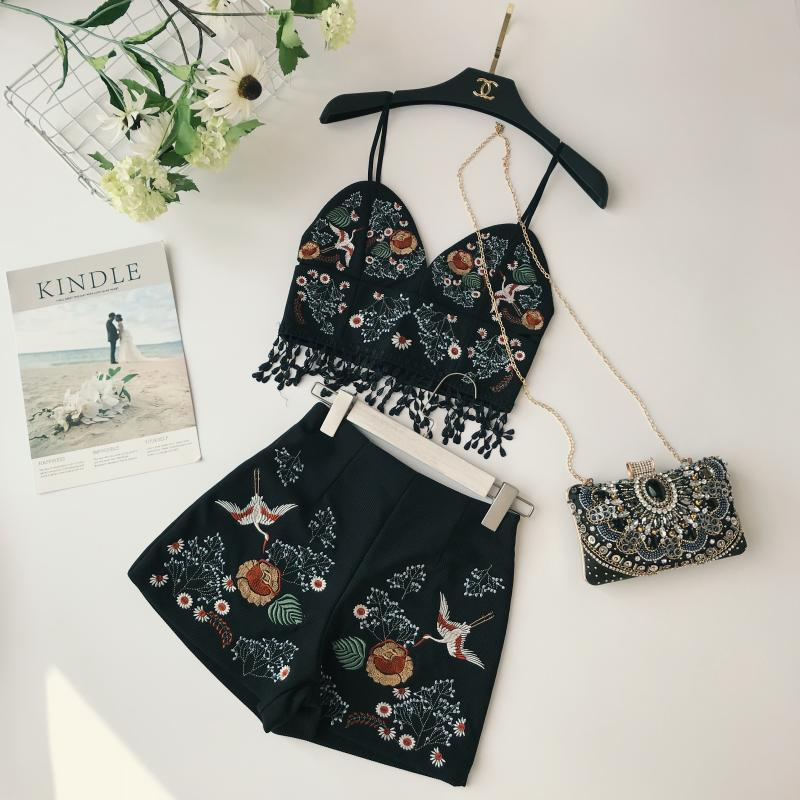 #4004 Embroidered Tassel Top with Shorts