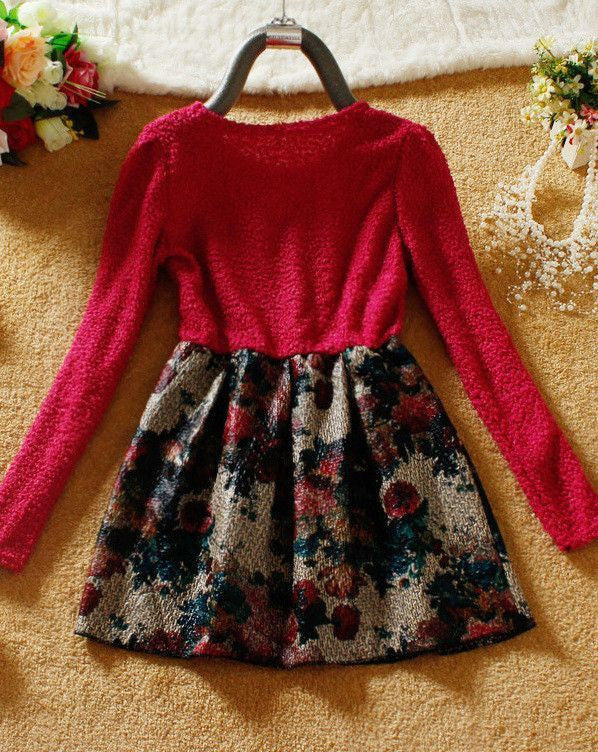 #420 Long Sleeved Bow-Knot Flower Dress