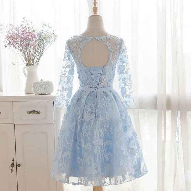#1314 Floral Embroidered Keyhole Solid Color Mini Dress with Belt