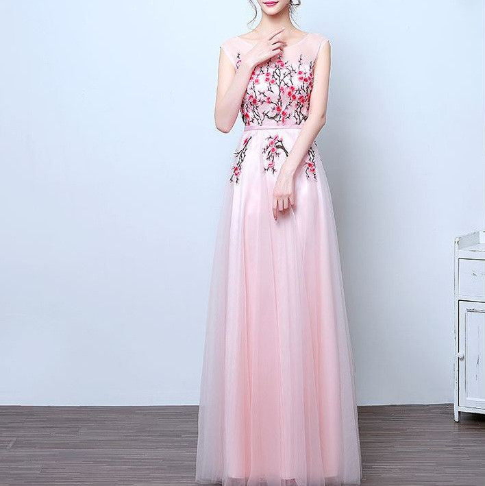 #1256 Round Neck Floral Embellish Skater Maxi Dress