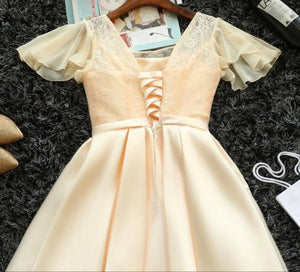 #1444 Lotus Sleeves Box Pleat Mini Dress with Band and Bow