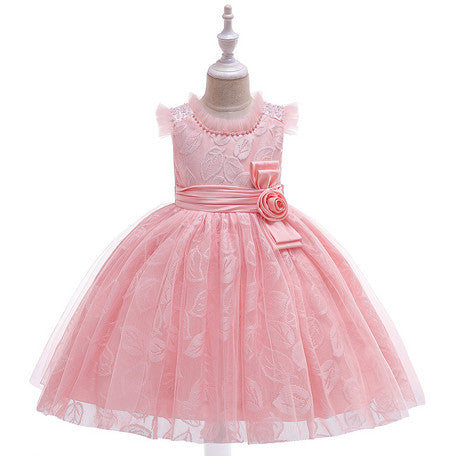 #1555 Kid- Embroidered Prom Dress With Rose