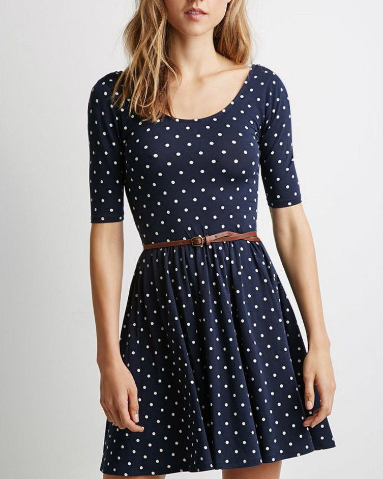 #744 Polka Dot Print Dress with Belt