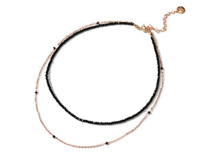 #N0002 DoubleLayers Beads and Rose Gold Necklace