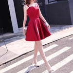 #1330 Irregular Neckline Solid Colour Skater Mini Dress with Band