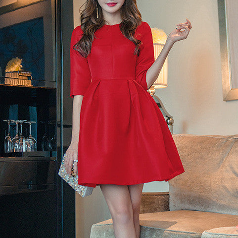 MY0059 Solid Color Skater Long Sleeves Mini Dress