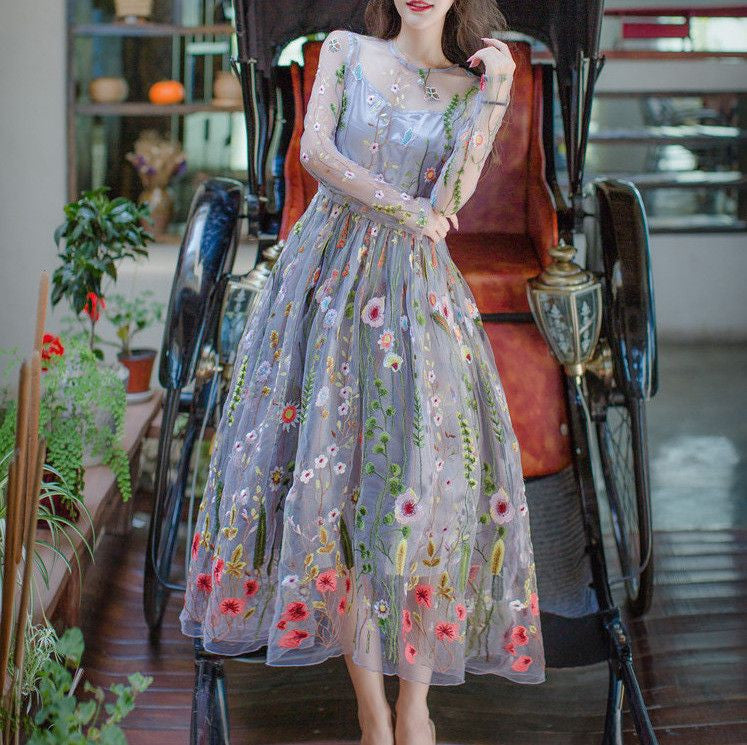 #1170 Needle and Thread Floral Embroidered Organza Midi Dress