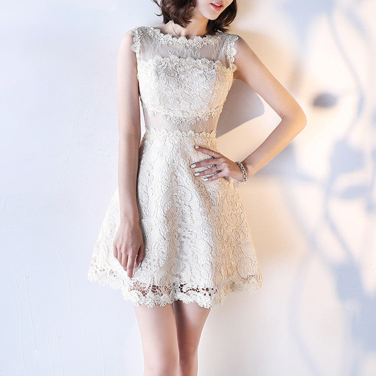 #1464 Crochet Lace Mini Dress