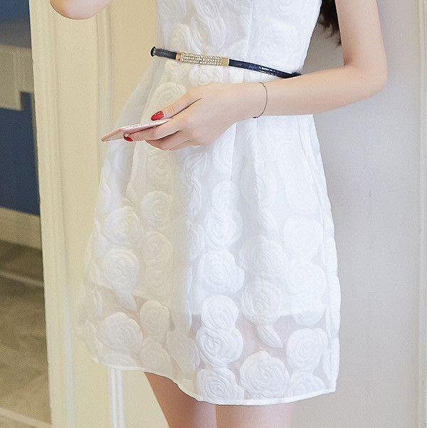 #1411 A-line Skate in Floral Embroidered Organza Mini Dress with Belt