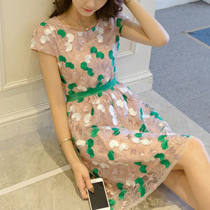 #1425 Embroidered Needle & Thread  Organza Mini Dress with Cap Sleeves