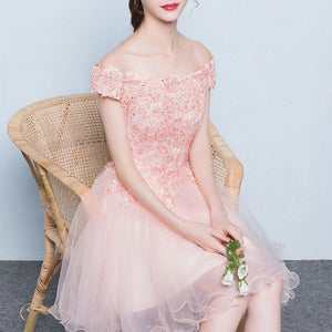 #1226  Off Shoulder Floral Embroidered Lace with Beads Skater Mini Dress