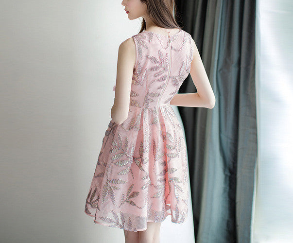 MY0058 Embroidered Mini Dress in Leaves Pattern